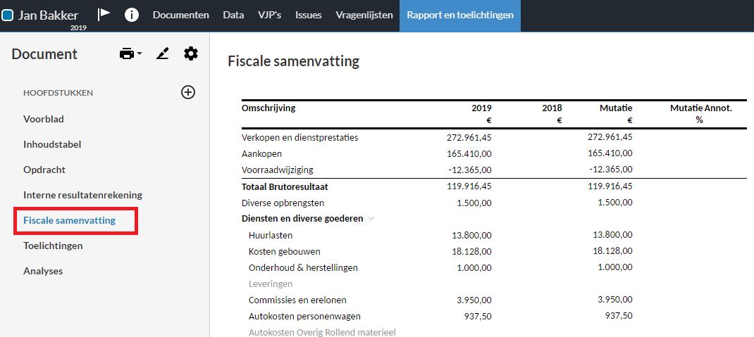 Fiscale samenvatting